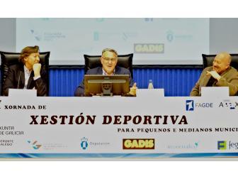Alfredo García, J. Ramón Lete Lasa e Eduardo Blanco na inauguración iii xornadas xestión deportiva